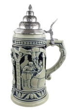 Ceramic beer stein with cobalt lid