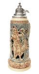 Collectible German Beer Stein Featuring Arminius with Horn Design