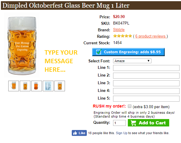 Choose the font and type of your personalized beer mug