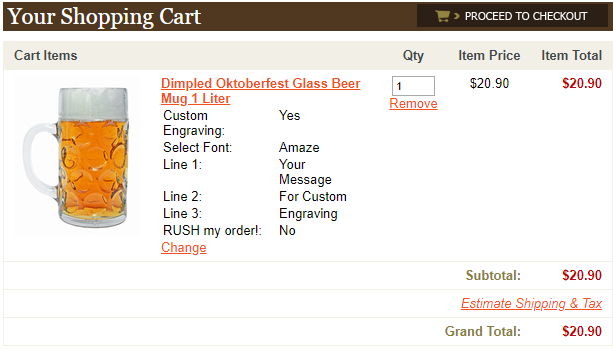 Confirm the custom text of your personalized beer mug