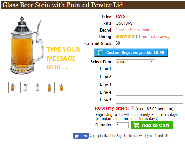 Choose the font and type of your personalized beer stein