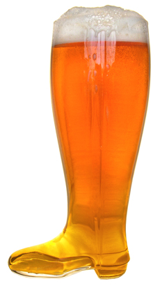 2 Liter Glass Beer Boot Available for Custom Image Design