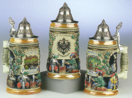 Three Custom Designed German Ceramic Beer Steins with Pewter Lids