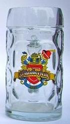 Dimpled glass beer mug with custom engraved color logo crest