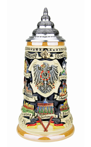 German Traveler Beer Stein .4 Liter with Pewter Lid