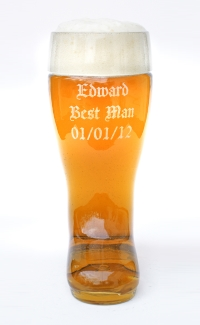 Glass Beer Boot with Best Man Name and Wedding Date Engraved