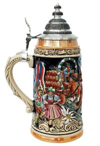 Collectible Official Oktoberfest Beer Stein with Lid