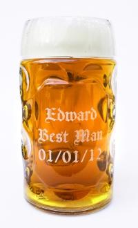 Custom Engraved Beer Glass for Wedding