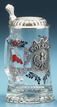 Authentic German Beer Mug with Pewter Polska Crest