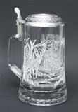 White Tail Deer Glass Beer Stein