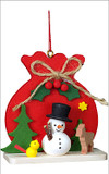 Santas Toy Sack and Snowman Wooden German Ornament