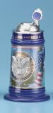 USA Stoneware Pewter Emblem Beer Stein