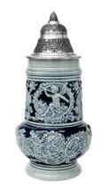 Cobalt Blue Rococo Ceramic German Beer Stein Front View Showing Cherub Angel Relief