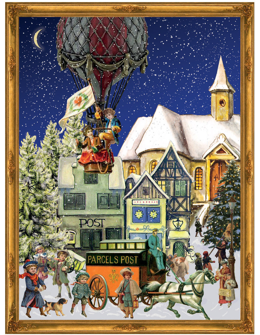 christmas hot air balloon german advent calendar. Black Bedroom Furniture Sets. Home Design Ideas