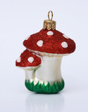Mushrooms Glass Christmas Ornament