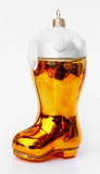 German Beer Boot Glass Christmas Ornament