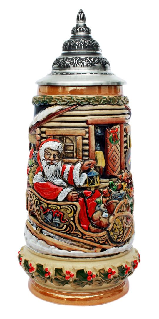 Santa in Sleigh Christmas Beer Stein - GermanSteins.com