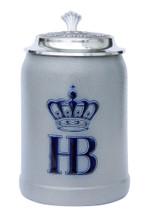 Hofbrauhaus German Ceramic Beer Stein with Pewter Lid