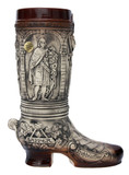 German Ceramic Beer Boot 2 Liter Rustic