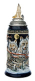Power of the Pack Wolf Beer Stein Cobalt with Wolf Lid