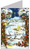 Winter Village Advent Calendar Christmas Card