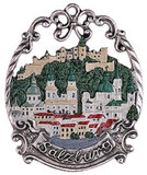 Salzburg Cityscape Pewter Christmas Tree Ornament