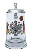 Traditional German Glass Beer Stein with Pewter Lid