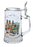 German Glass Beer Stein with Custom Munich Logo