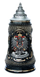 Old German Pewter Coat of Arms Black Lozenge Beer Stein