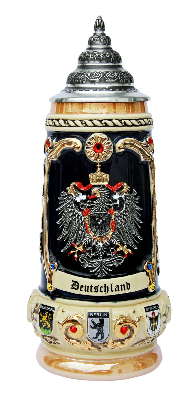 deutschland crest with swarovski crystals beer stein. Black Bedroom Furniture Sets. Home Design Ideas