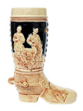 German Ceramic Beer Boot 1 Liter Cobalt