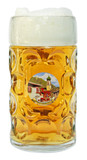Oberammergau Dimpled Oktoberfest Glass Beer Mug 1 Liter