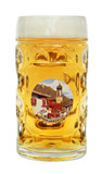 Oberammergau Dimpled Oktoberfest Glass Beer Mug 0.5 Liter