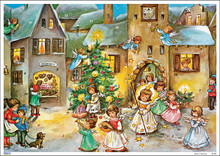 Traditional German Christmas Advent Calendar Angels Visit Village