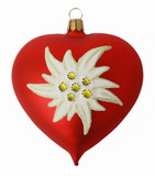 Red Glass Heart German Christmas Ornament with Edelweiss