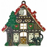 Gingerbread House German Pewter Christmas Ornament