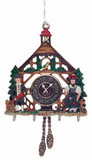 3D Bavarian Cuckoo Clock German Pewter Christmas Ornament