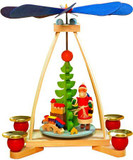 Hand Crafted Santa and Toys German Wooden Pyramid