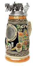 425th Anniversary Hofbrauhaus Collectible German Beer Stein with Pewter Lid