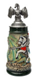 Knight Dragon Slayer Beer Stein with Dragon Lid