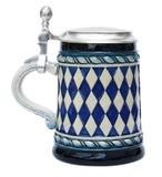 Bavarian Diamond Pattern Beer Stein Blue