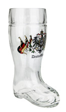 Personalized .5 Liter Glass Beer Boot with German Crest