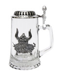 Authentic German Beer Glass with Pewter Viking