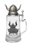 Authentic German Beer Glass with Pewter Viking Crest & Lid
