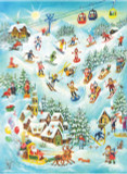 Santa and Skiers German Advent Calendar