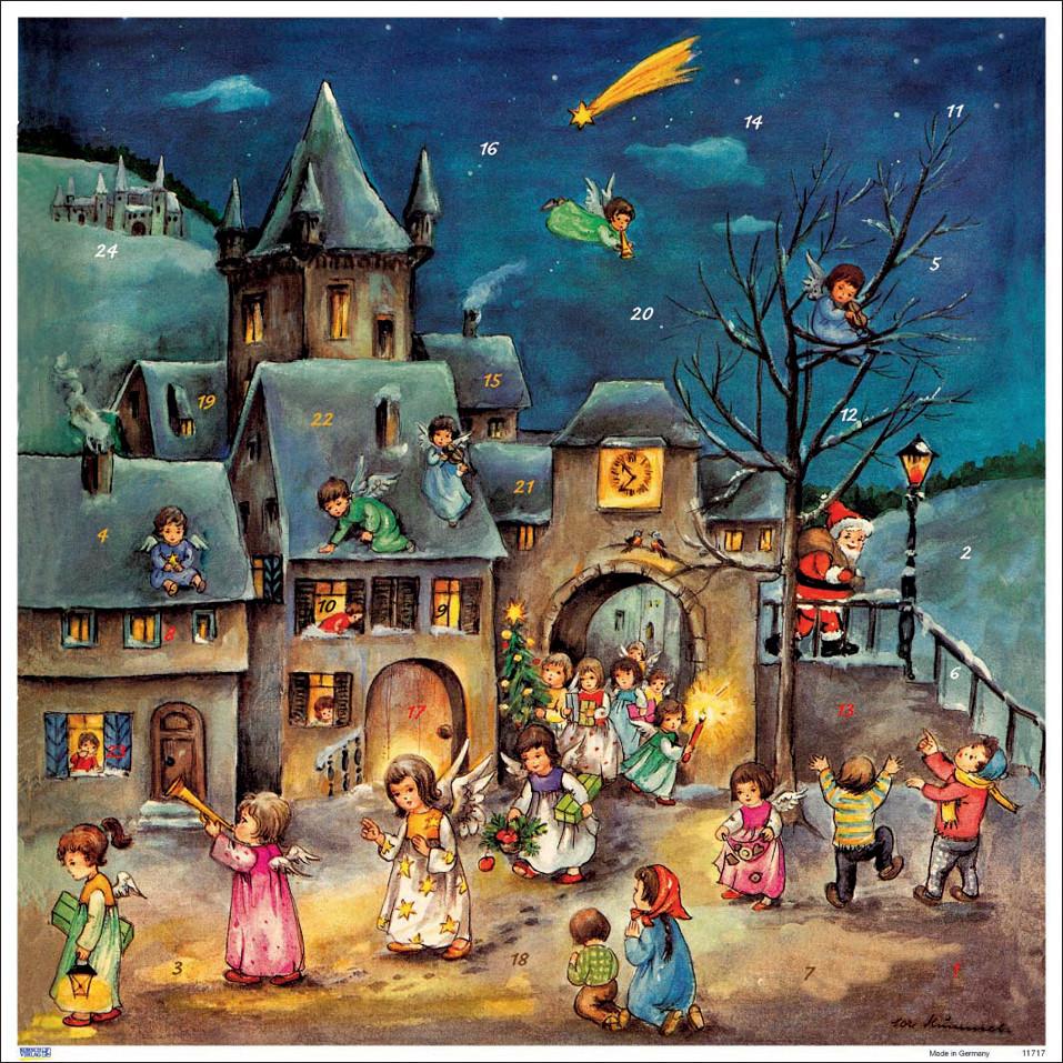 angel village german christmas advent calendar. Black Bedroom Furniture Sets. Home Design Ideas