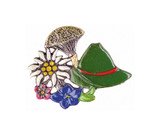 German Hat and Alpine Flowers Pewter German Hat Pin