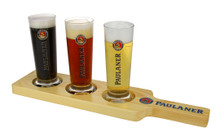 Paulaner paddle shown with beer