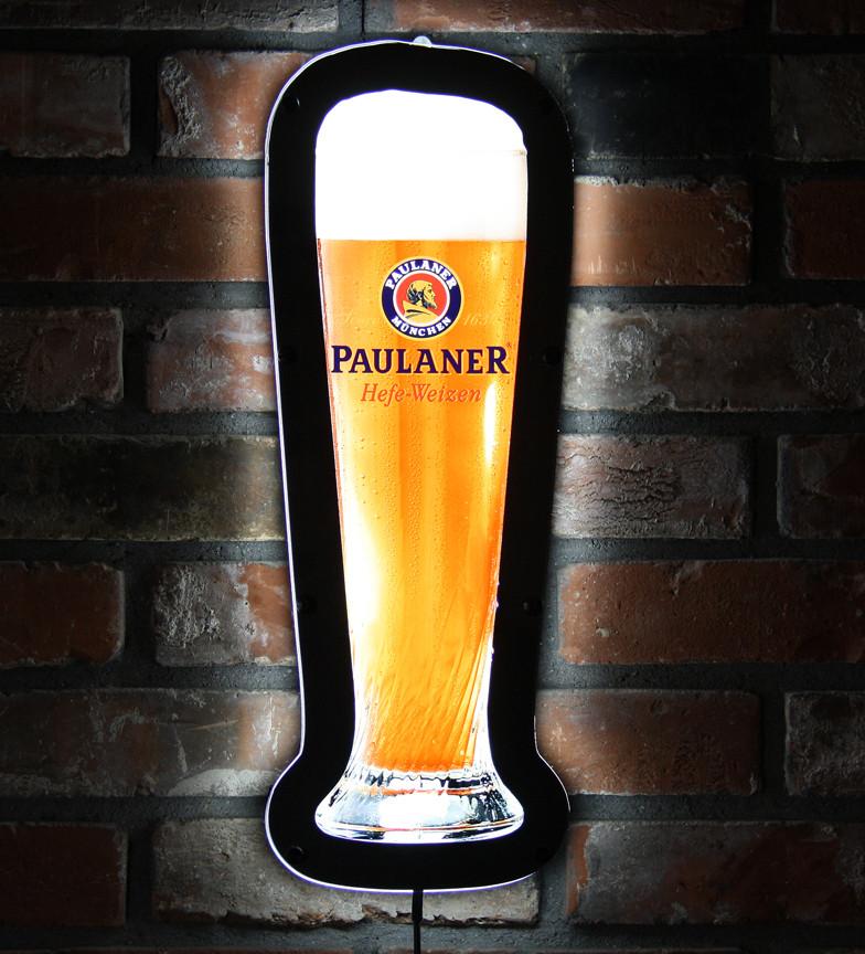 Paulaner LED Wheat Beer Glass Shaped Bar Sign