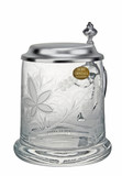 Hops and Wheat Engraved Crystal Beer Stein
